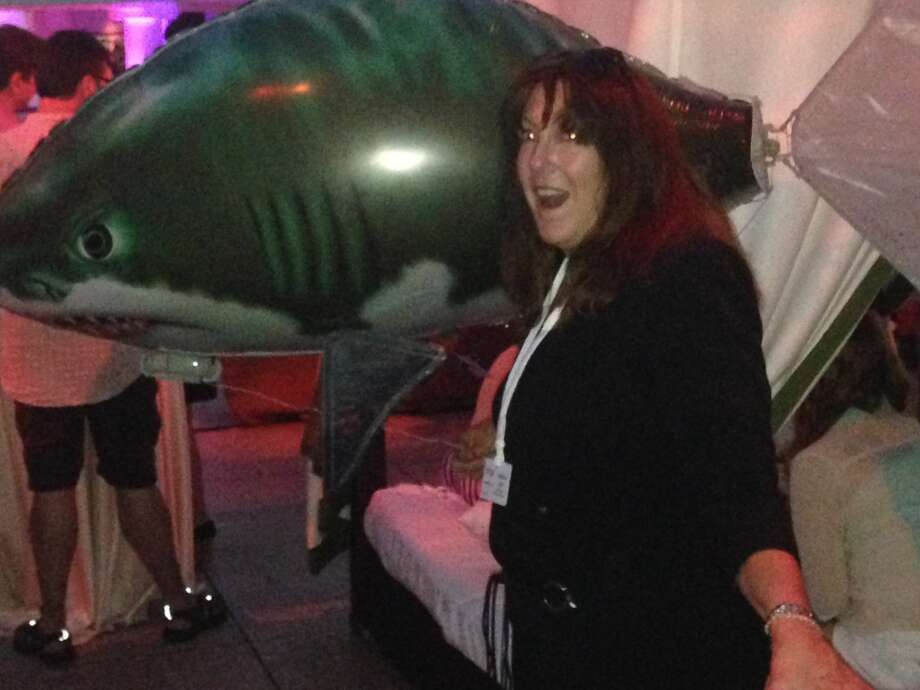 Critic Jeanne Jakle reacts to screening (and shark balloon). Photo: Marylou Coyle