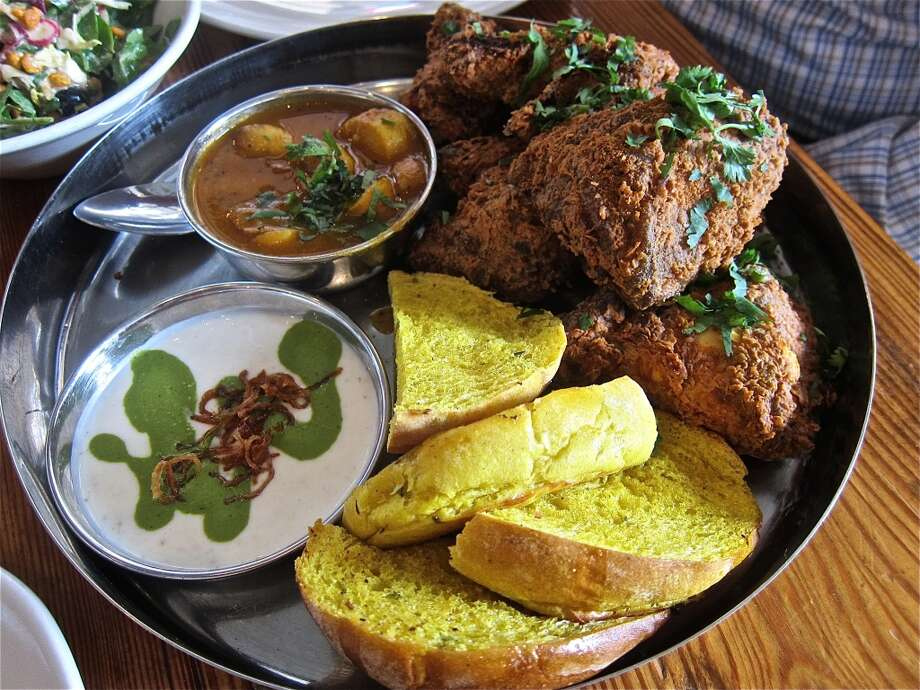 Fried-chicken served thali-style at Pondicheri, a Tuesday-only special. Photo: Alison Cook
