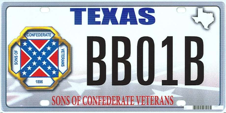 This image provided by the Texas Department of Motor Vehicles shows the design of a proposed Sons of Confederate Veterans license plate.  Eleven years ago, when the NAACP stepped up a campaign to remove the Confederate battle flag from statehouses and other government buildings across the South, it found an opponent in then Lt. Gov. Rick Perry. Perry argued that states should honor their history and decide on appropriate displays. A related issue may rise this fall when Texas decides whether to allow specialty license plates featuring the Confederate flag. / Texas Department of Motor Vehicl
