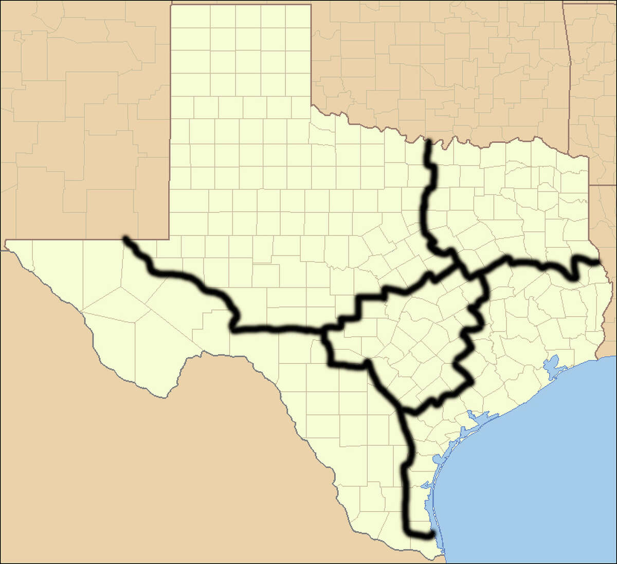 """According to the 1845 Joint Resolution for Annexing Texas, we can divide ourselves into five different states if we choose. In 2009, analyst Nate Silver imagined a five-state solution based on the picture above. We decided to expand on that idea to see the different traits of each """"imagined"""" state.Photo: Ruhrfisch / Wikimedia Commons"""