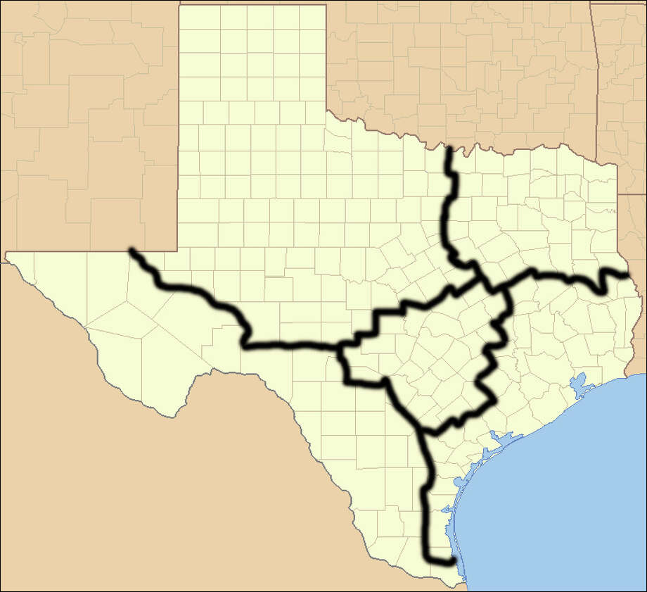 "According to the 1845 Joint Resolution for Annexing Texas, we can divide ourselves into five different states if we choose. In 2009, analyst Nate Silver imagined a five-state solution based on the picture above. We decided to expand on that idea to see the different traits of each ""imagined"" state.Photo: Ruhrfisch / Wikimedia Commons"