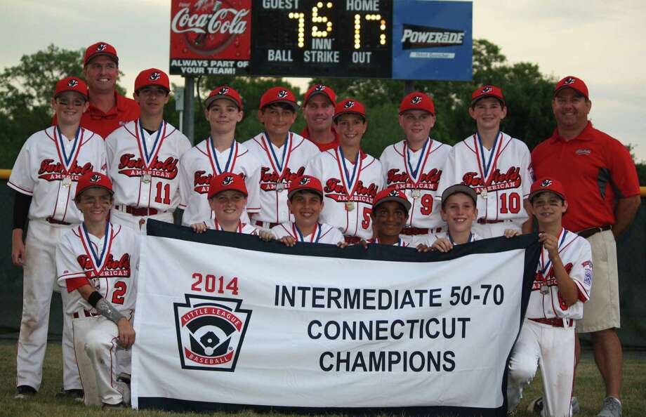 The Fairfield American Little League all-star team won the state Intermediate 50/70 championship in Middletown on Wednesday, July 9. Front row, from left: Jack Scott, Joe Falletta, Will McGuire, Manik Jain, Michael Sirbono, Tommy Hoover. Back row, from left: Matt Micinillio, coach Mike Hoover, Everett Lyons, Reilly Mead, James Delmiche, manager Paul Sirbono, Sam Sweeney, Liam Rosengren, Joey Kulaga and coach Kevin Micinillio. Photo: Contributed Photo / Fairfield Citizen