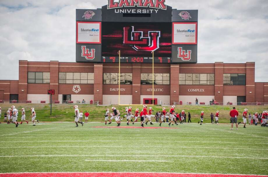 The Lamar University Cardinals run drills before competing in the Crawfish bowl Saturday at the Provost Umphrey Stadium. Photograph provided by Michael Reed.