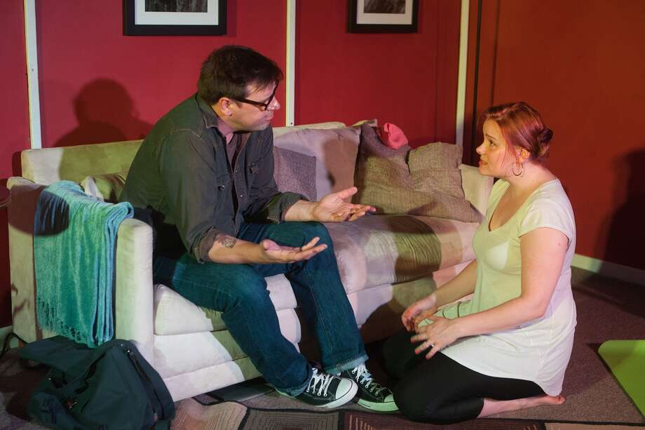"Drake Simpson and Ivy Castle rehearse a scene for ""Spaghetti Code"" at PJ's Sports Bar. Photo: R. Clayton McKee, Freelance / © R. Clayton McKee"