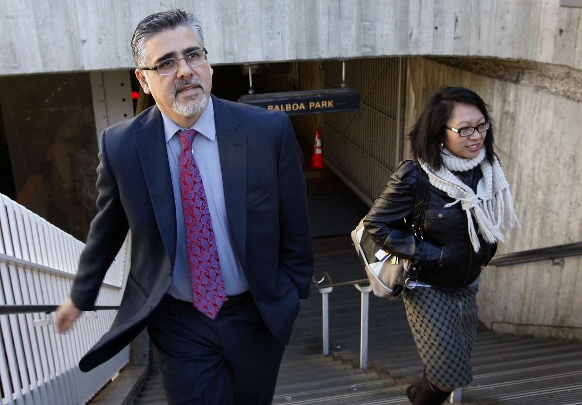 Supervisor John Avalos and his legislative aid Raquel Redondiez arrive at the Balboa Park station to view the deteriorating conditions at the BART and Muni transit hub in San Francisco, Calif., on Thursday, Jan. 20, 2011.