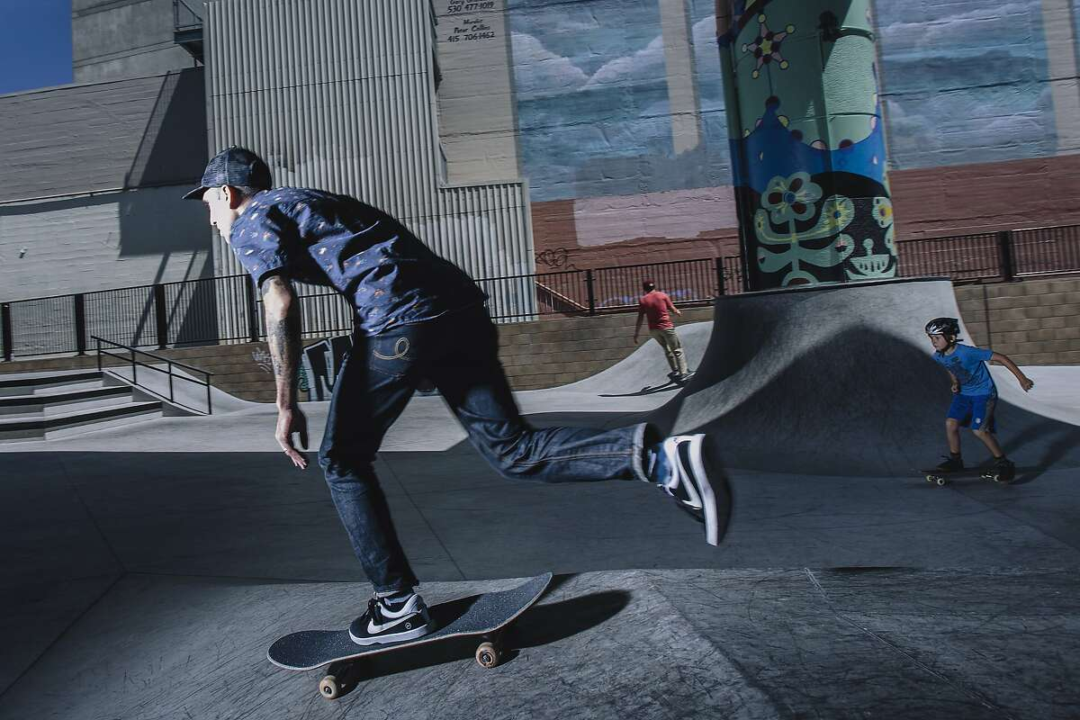 Benny Gold, CEO and founder of Benny Gold, skates at the SOMA West Skate Park in San Francisco, Calif. on Monday, July 14, 2014.