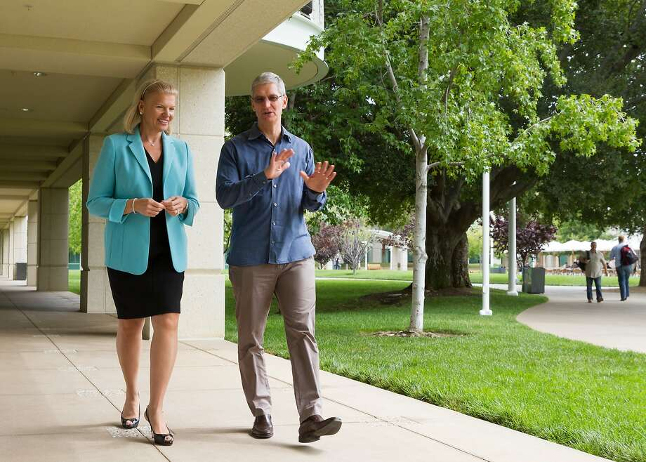 IBM CEO Ginni Rometty and Apple CEO Tim Cook walk around Apple headquarters in Cupertino. Photo: Apple Inc., IBM