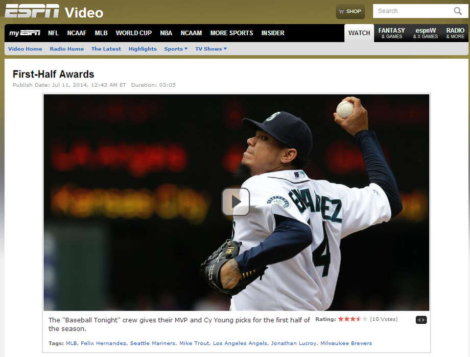 "ESPN's 'Baseball Tonight'  Over the weekend, ESPN's ""Baseball Tonight"" panel chose their midseason Cy Young and MVP award leaders, and Seattle's Felix Hernandez was the unanimous choice for the American League's top pitching honors. It would be ""King Felix's"" second Cy Young crown. Photo: Screenshot, ESPN.com"