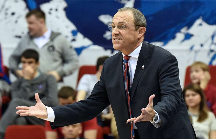 CSKA Moscow's coach Ettore Messina gestures during a Euroleague game 1, playoff basketball match against Panathinaikos in Moscow, on April 16, 2014. Photo: Yuri KADOBNOV, AFP/Getty Images