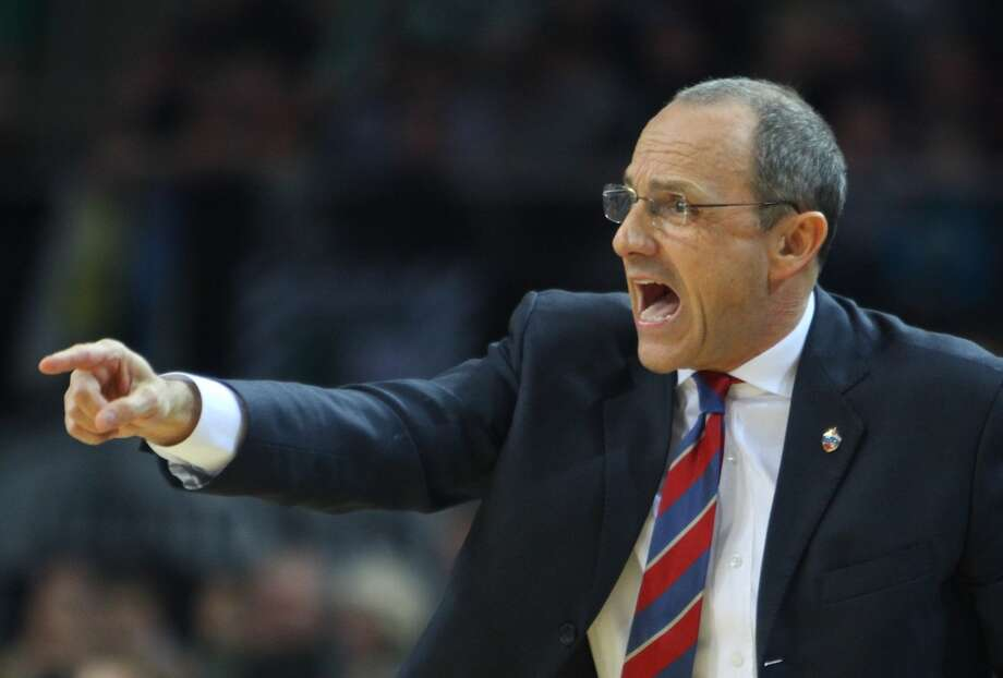 CSKA Moscow head coach Ettore Messina reacts during the Euroleague Top 16  basketball match Zalgiris Kaunas vs CSKA Moscow in Kaunas on March 6, 2014. Photo: PETRAS MALUKAS, AFP/Getty Images