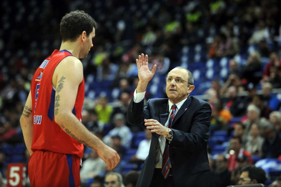 Ettore Messina, Head Coach of CSKA Moscow gestures during the Turkish Airlines EuroLeague Final Four game 3rd and 4th place between CSKA Moscow v FC Barcelona Regal at O2 Arena on May 12, 2013 in London, United Kingdom. Photo: Luca Sgamellotti, EB Via Getty Images