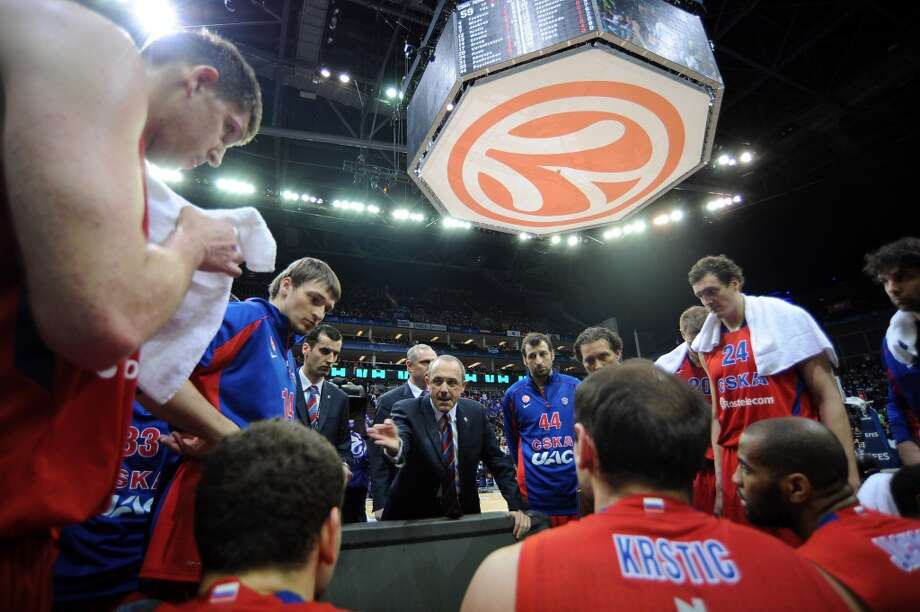 Ettore Messina, Head Coach of CSKA Moscow speaks during the Turkish Airlines EuroLeague Final Four game 3rd and 4th place between CSKA Moscow v FC Barcelona Regal at O2 Arena on May 12, 2013 in London, United Kingdom. Photo: Luca Sgamellotti, EB Via Getty Images