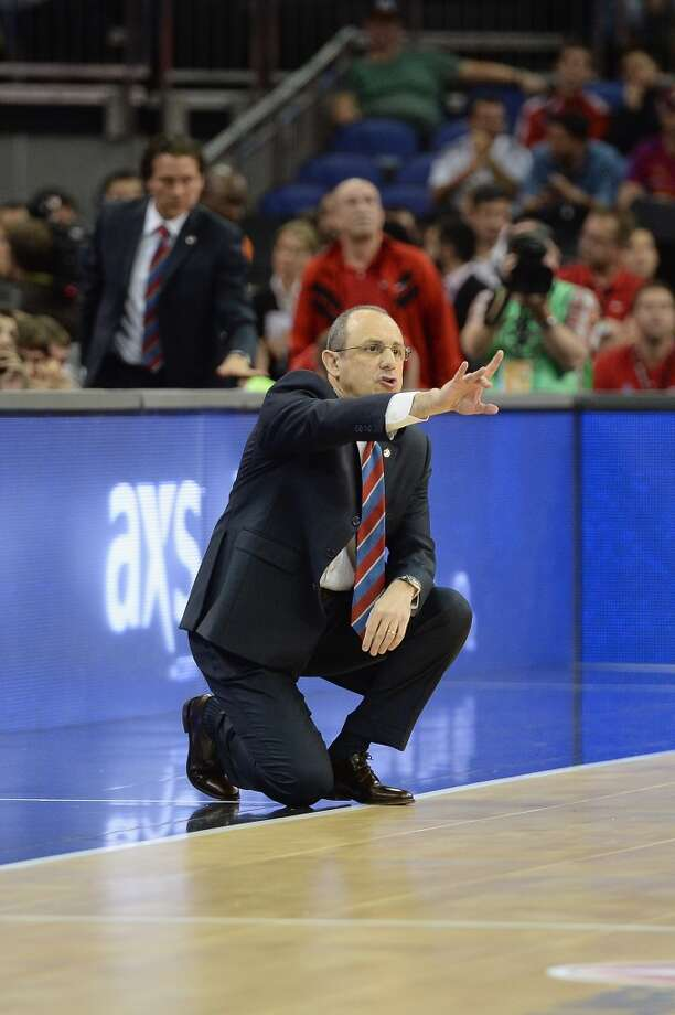 Ettore Messina, Head Coach of CSKA Moscow in action during the Semifinal A game between CSKA Moscow v Olympiacos Piraeus at O2 Arena on May 10, 2013 in London, United Kingdom. Photo: Mansoor Ahmed, EB Via Getty Images