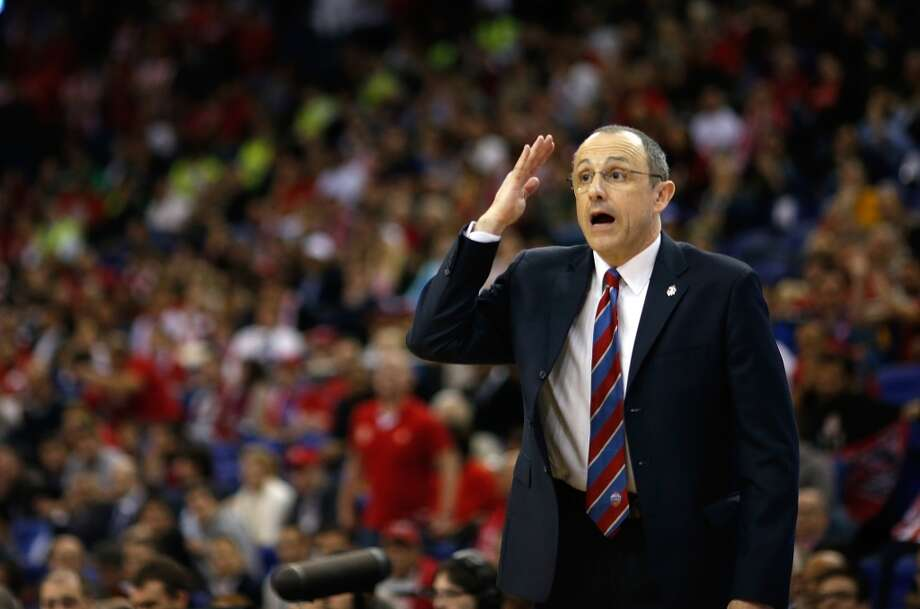 Ettore Messina, head coach of CSKA Moscow in action during the Semifinal A game between CSKA Moscow v Olympiacos Piraeus at Os Arena on May 10, 2013 in London, United Kingdom. Photo: Ulf Duda, EB Via Getty Images