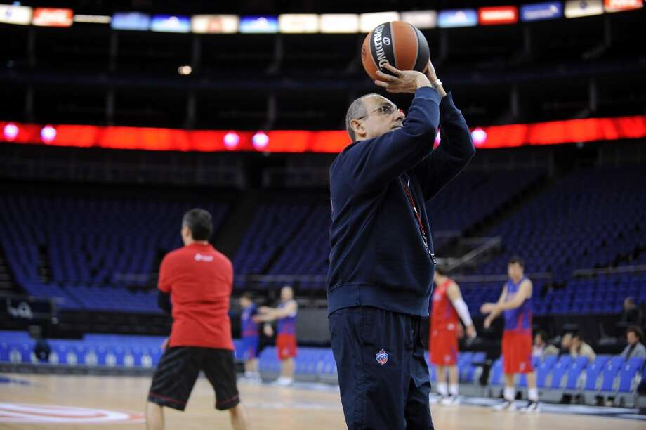Ettore Messina during the Olympiacos Piraeus Practice as part of Turkish Airlines Euroleague Final Four at O2 Arena on May 9, 2013 in London, United Kingdom. Photo: Luca Sgamellotti, EB Via Getty Images