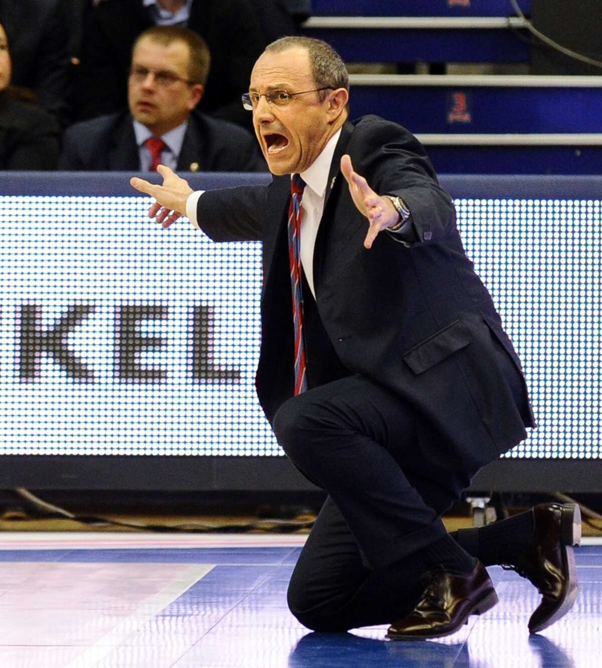 Ettore Messina, while coach of CSKA Moscow, reacts during the Euroleague Top 16 basketball match against Real Madrid in Moscow on March 28, 2013.