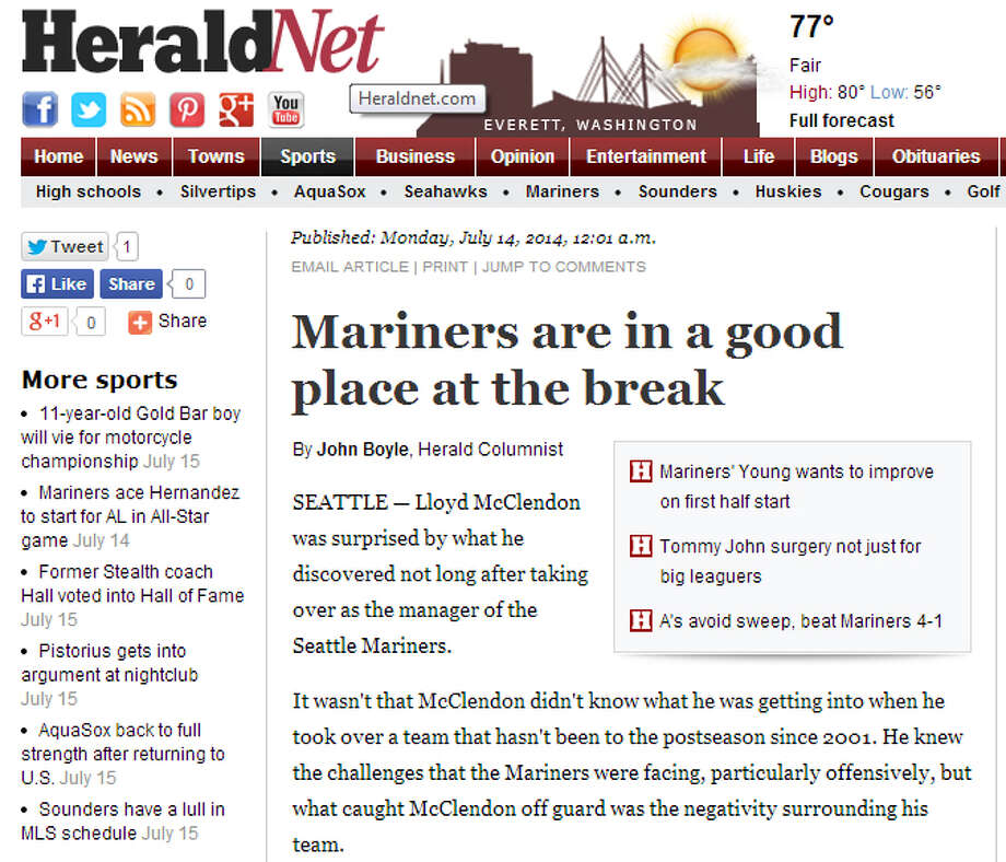 """The Everett HeraldSportswriter John Boyle at The Herald of Everett noted the stark contrast between how people see the Mariners now and how they saw them at the beginning of the season. """"If the season ended today,"""" Boyle wrote, """"the Mariners would own the American League's second Wild Card berth, a rather huge accomplishment for a team that inspired a level of negativity that 'shocked' (manager Lloyd) McClendon before the season."""" Photo: Screenshot, HeraldNet.com"""