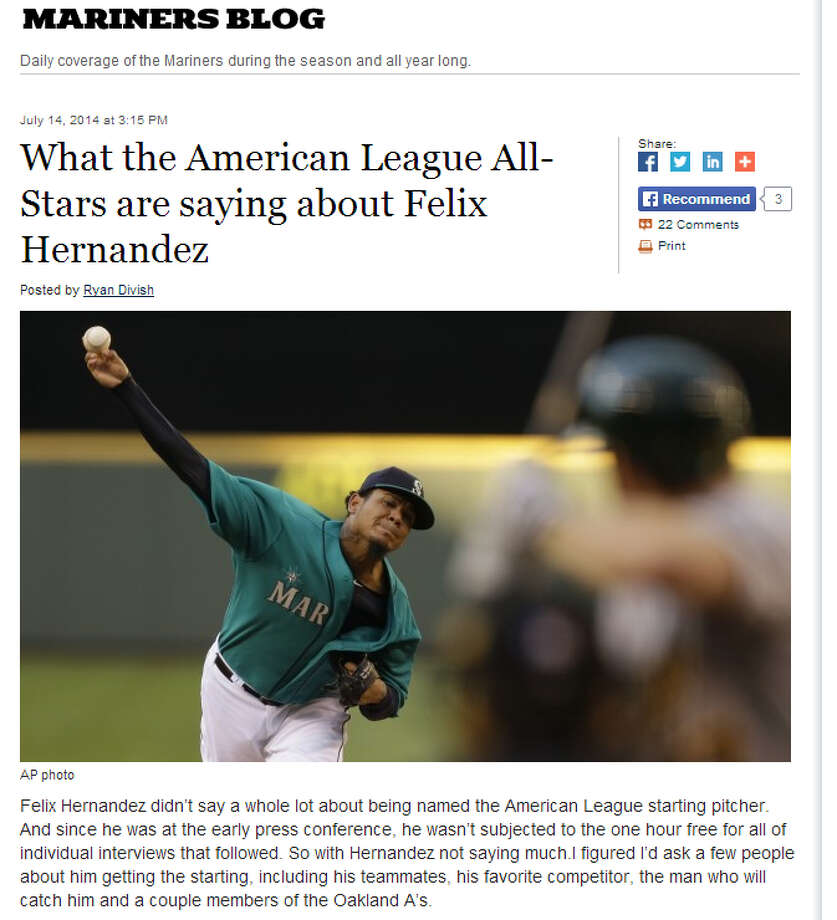 """Other MLB All-StarsFelix Hernandez – named the All-Star starter after the best first half of his already star-studded career – is getting a lot of love from his fellow A.L. standouts, according to The Seattle Times' Ryan Divish. """"Sometimes you expect a guy to slow down a little bit,"""" Rangers third baseman Adrian Beltre told Divish. """"But he learns every year how to be more consistent. He's getting nastier by the day."""" Photo: Screenshot, SeattleTimes.com"""