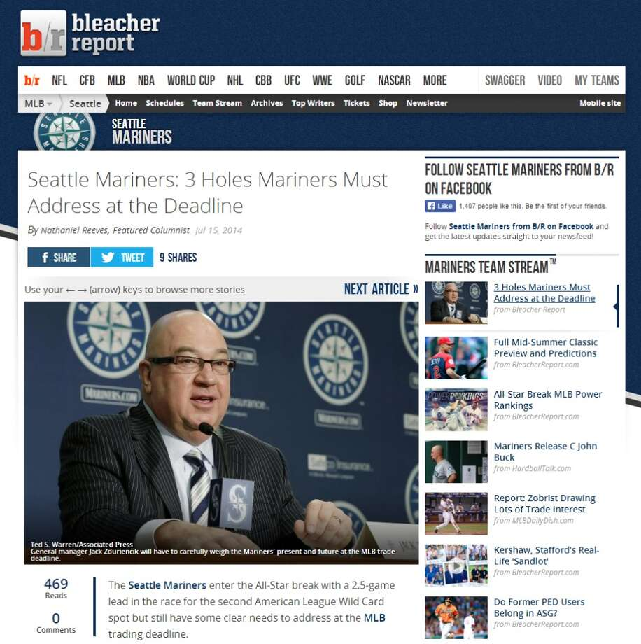 Bleacher Report  Nathaniel Reeves, a columnist at Bleacher Report, outlined three major needs for the M's: a right-handed corner outfielder, an additional big bat and a mid-level starting pitcher. But what are they chances Seattle will get all three before the July 31 trade deadline? Photo: Screenshot, BleacherReport.com