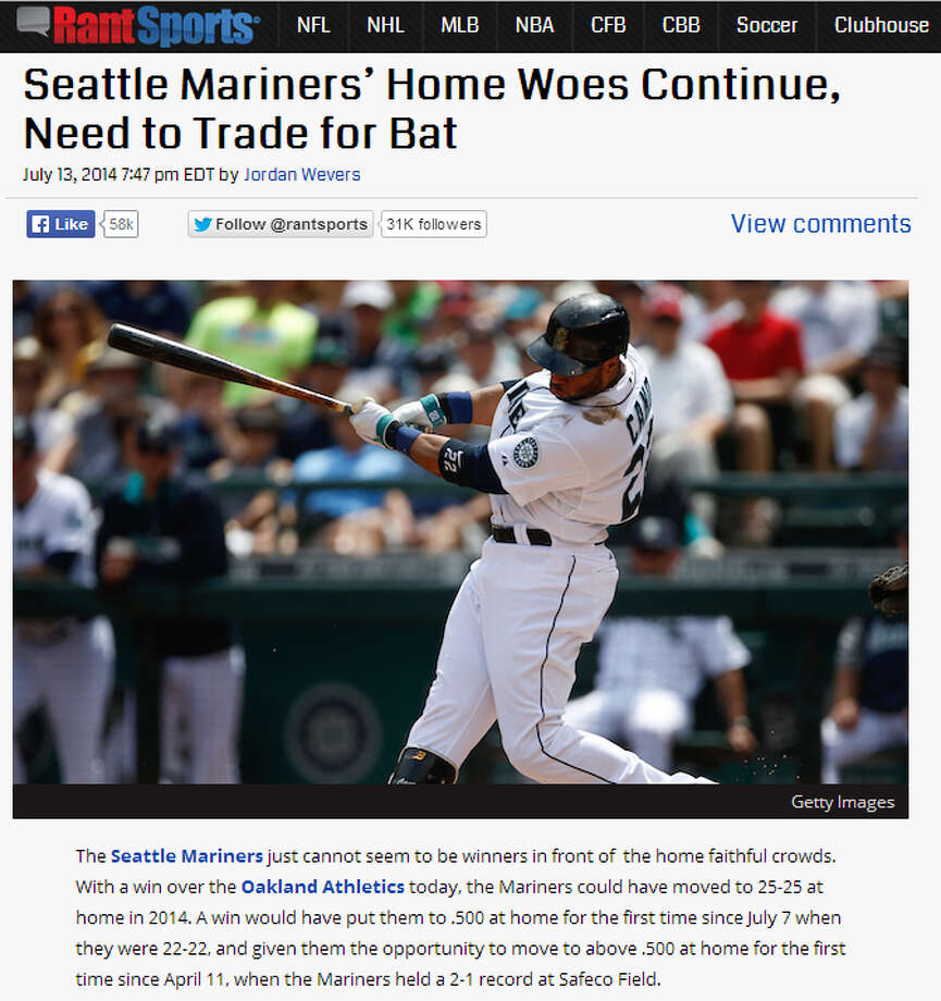 """Rant SportsAt Rant Sports, Jordan Wevers despaired over the M's narrowly missing a .500 home record at the All-Star break, arguing that the flat offensive lineup has lacked timely hitting and that the club is in desperate need of """"a middle-of-the-lineup hitter than can ignite some rallies late in games and keep the team competitive."""" Photo: Screenshot, RantSports.com"""