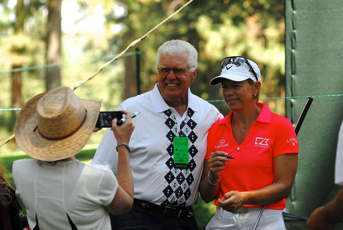 Annika Sorenstam poses for a photo with a fan during a practice round of the Lake Tahoe Celebrity-Am at Edgewood Golf Course on July 15, 2014 in Stateline, Nevada.