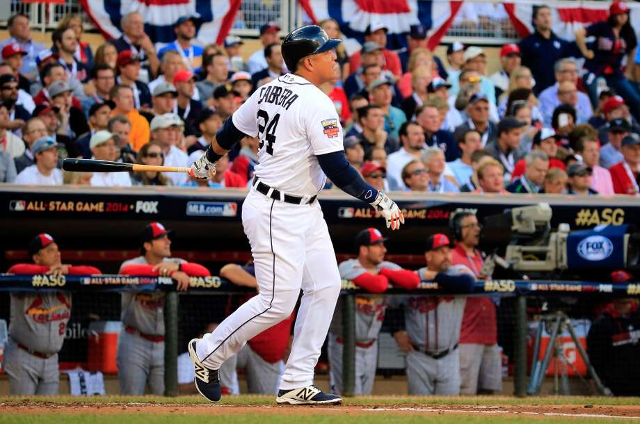 American League All-Star Miguel Cabrera #24 of the Tigers hits a home run in the first inning. Photo: Rob Carr, Getty Images