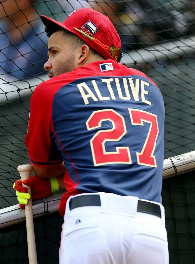 American League All-Star Jose Altuve #27 of the Astros  looks on prior to the game. Photo: Elsa, Getty Images