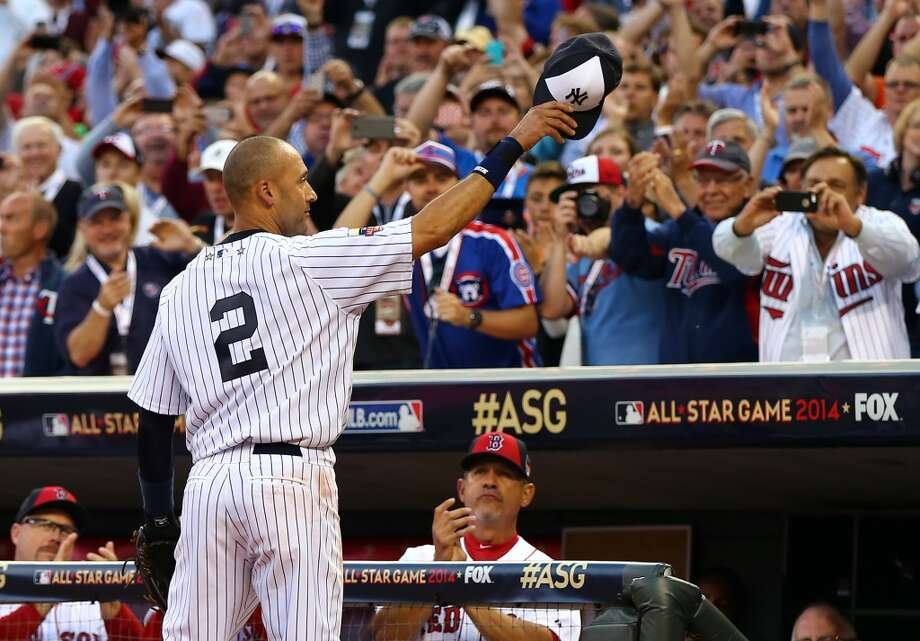 American League All-Star Derek Jeter #2 of the Yankees acknowledges the crowd after being pulled in the fourth inning. Photo: Elsa, Getty Images