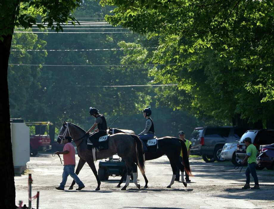Horses trained by Todd Pletcher go to the track for exercise Wednesday morning July 9, 2014 at the Oklahoma Training Center in Saratoga Springs, N.Y.           (Skip Dickstein / Times Union) Photo: SKIP DICKSTEIN