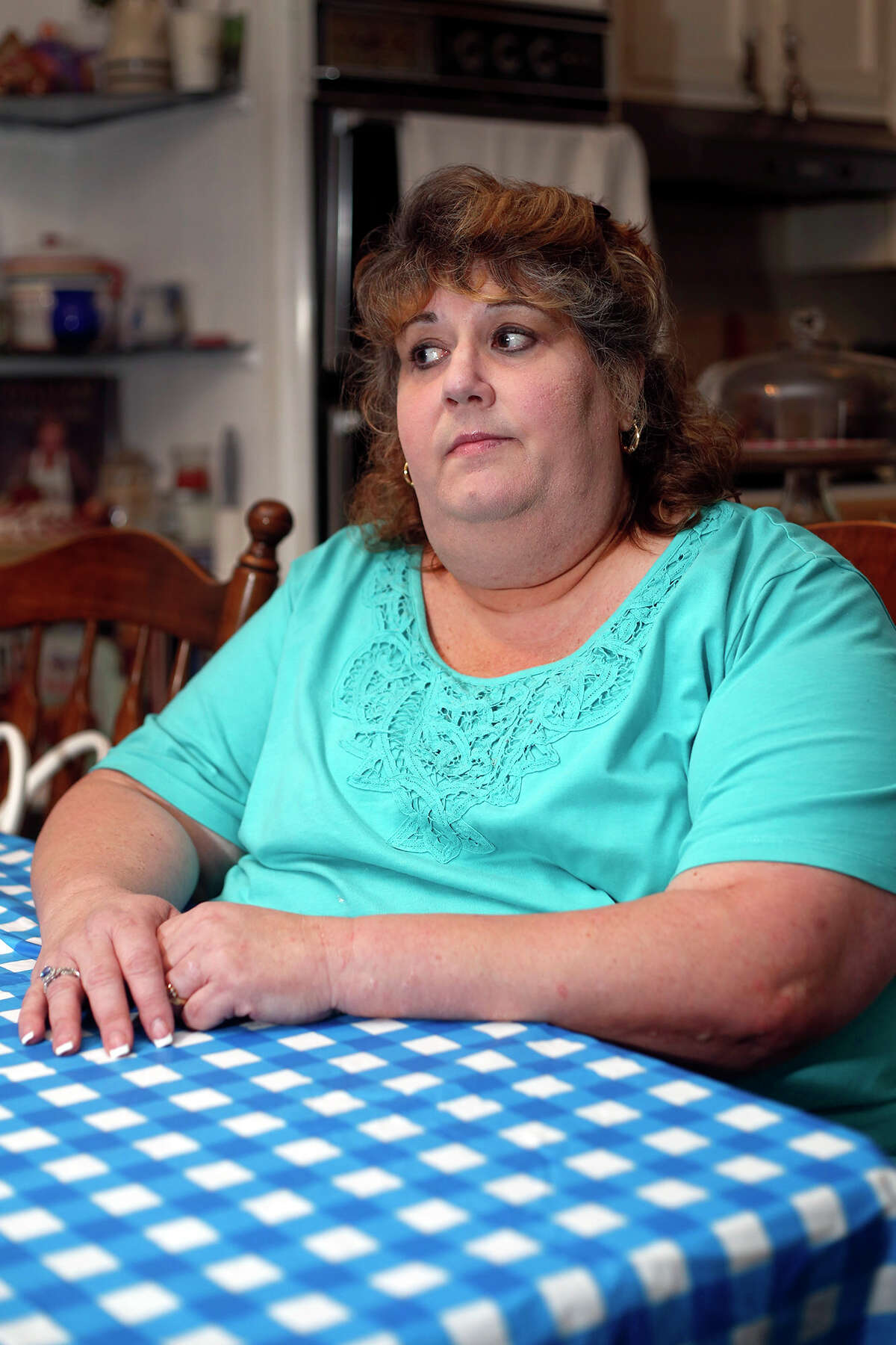 Valerie Riviello discusses how she felt the Veteran's Association is mistreating certain patients, inside her home on Tuesday, July 15th, 2014 in Clifton Park, N.Y. (Tom Brenner/ Special to the Times Union)