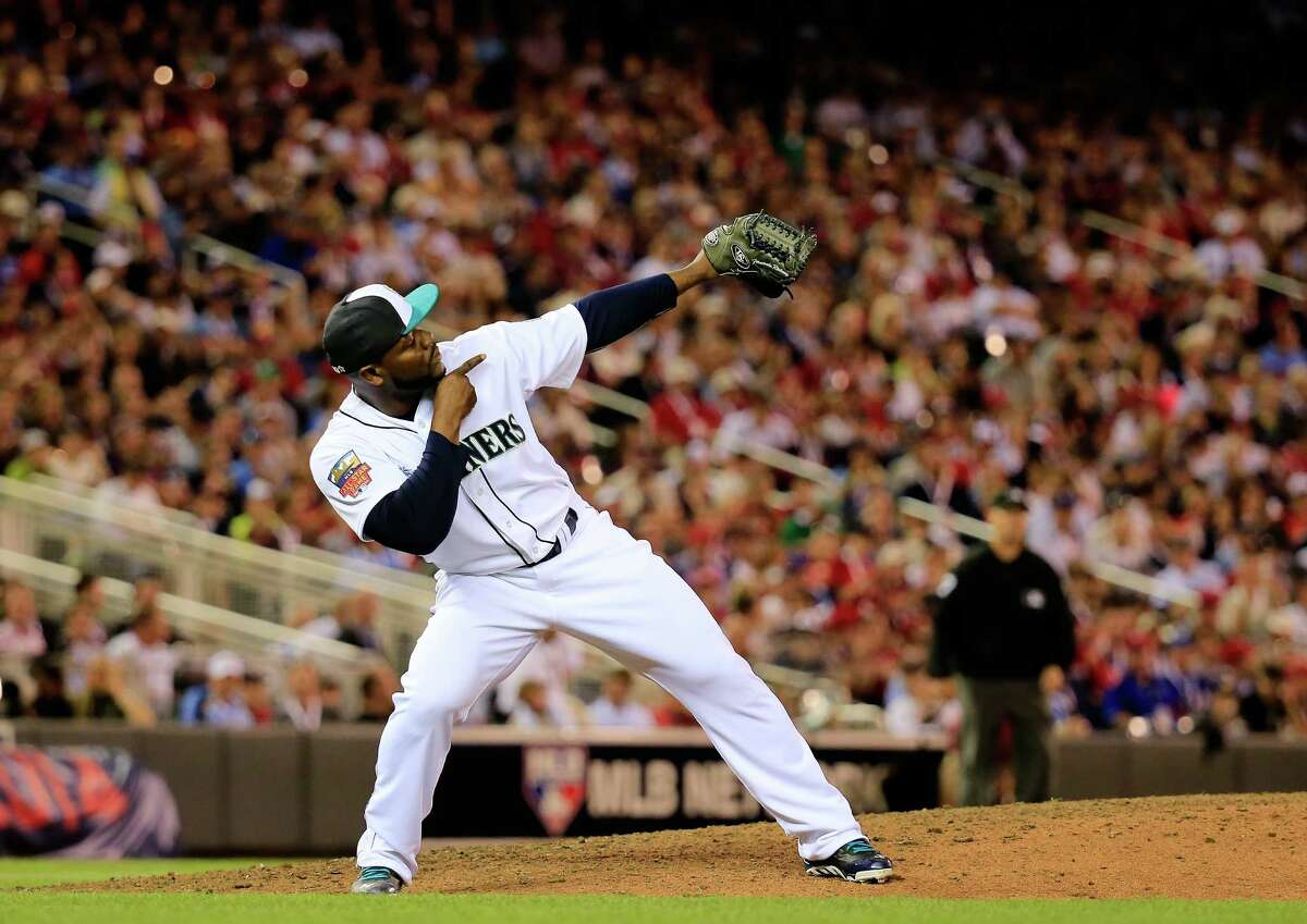 MINNEAPOLIS, MN - JULY 15: American League All-Star Fernando Rodney #56 of the Seattle Mariners celebrates an out against the National League All-Stars during the 85th MLB All-Star Game at Target Field on July 15, 2014 in Minneapolis, Minnesota.