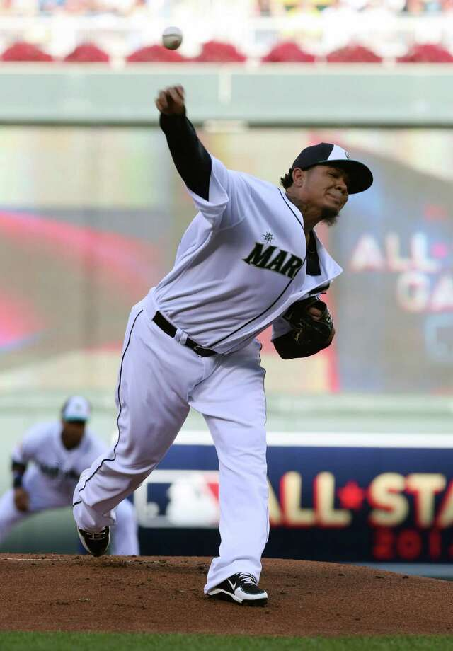 American League pitcher Felix Hernandez, of the Seattle Mariners, delivers the ball during the first inning of the MLB All-Star baseball game, Tuesday, July 15, 2014, in Minneapolis. Photo: Jim Mone, AP / AP2014