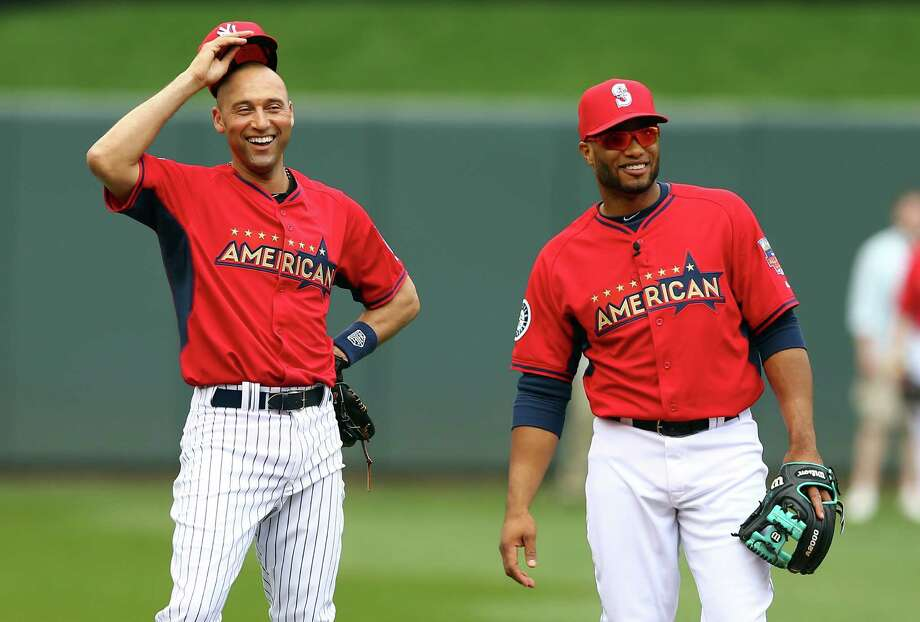 MINNEAPOLIS, MN - JULY 15:  American League All-Star Derek Jeter #2 of the New York Yankees speaks with American League All-Star Robinson Cano #24 of the Seattle Mariners during batting practice prior to the 85th MLB All-Star Game at Target Field on July 15, 2014 in Minneapolis, Minnesota. Photo: Elsa, Getty Images / 2014 Getty Images