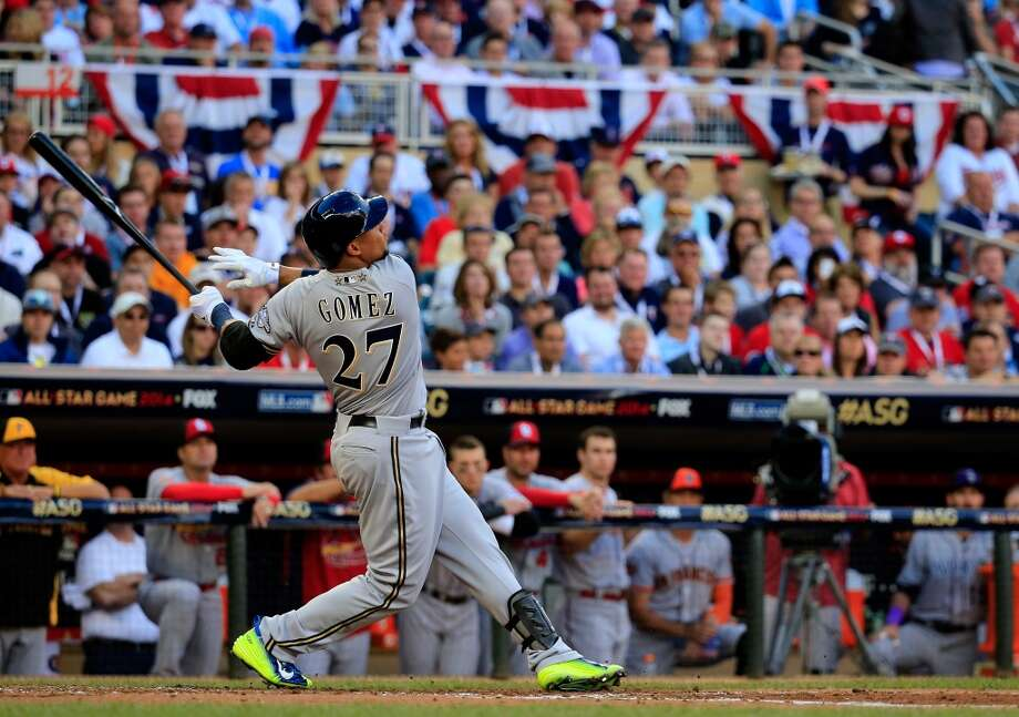 National League All-Star Carlos Gomez #27 of the Brewers bats. Photo: Rob Carr, Getty Images