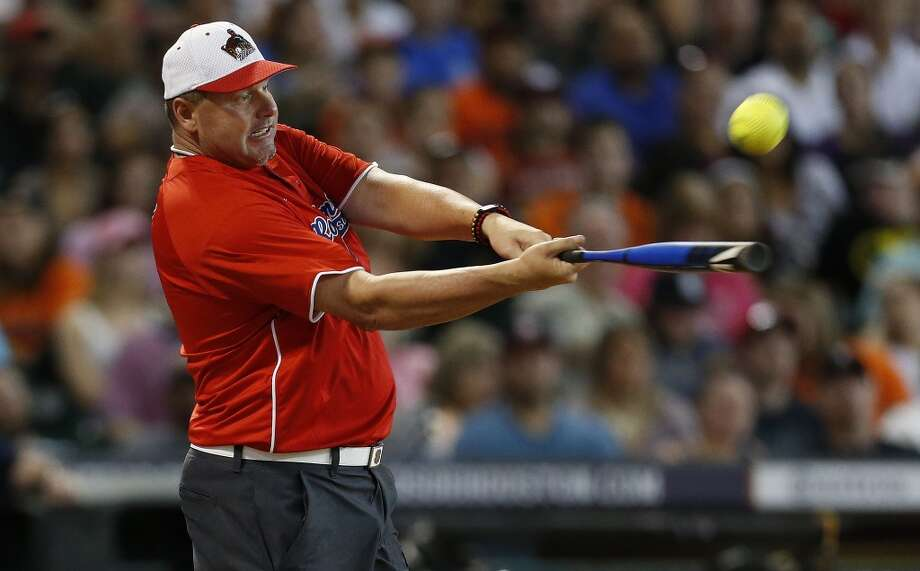 Roger Clemens hits the ball. Photo: Karen Warren, Houston Chronicle