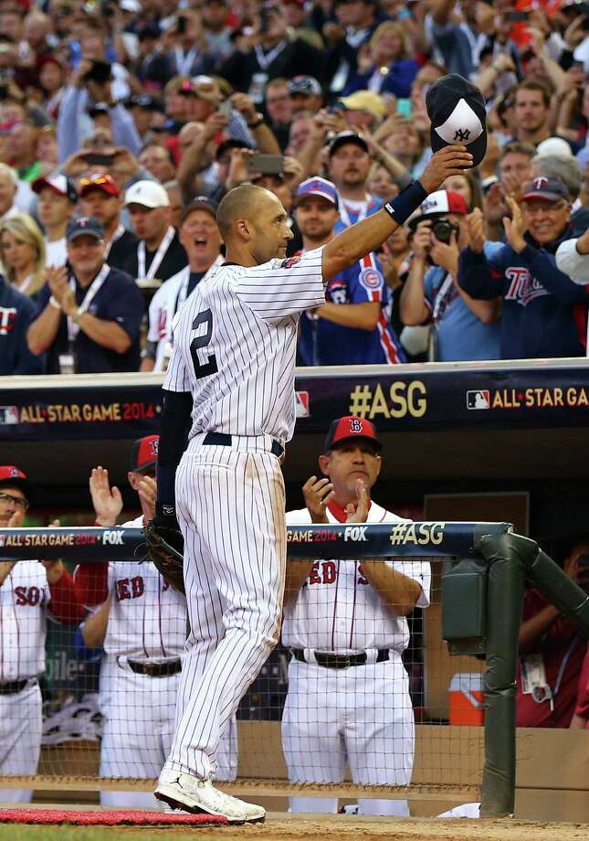 MINNEAPOLIS, MN - JULY 15:  American League All-Star Derek Jeter #2 of the New York Yankees acknowledges the crowd after being pulled in the fourth inning during the 85th MLB All-Star Game at Target Field on July 15, 2014 in Minneapolis, Minnesota.  (Photo by Elsa/Getty Images) ORG XMIT: 493624053 Photo: Elsa / 2014 Getty Images