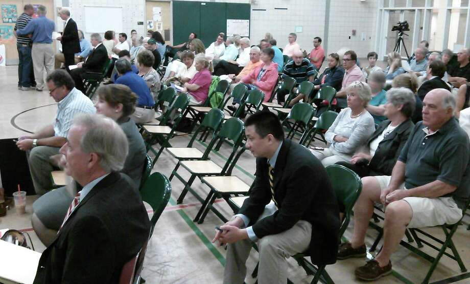 A large audience was on hand for the third Town Plan and Zoning Commission hearing within a week's time Tuesday on plans to build a 95-unit apartment complex on lower Bronson Road. Photo: Andrew Brophy / Fairfield Citizen