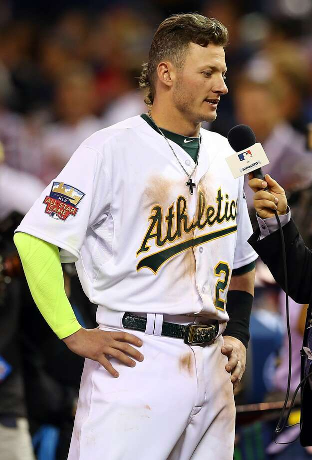 American League All-Star Josh Donaldson is interviewed following a 5-3 victory over the National League All-Stars. Photo: Elsa, Getty Images
