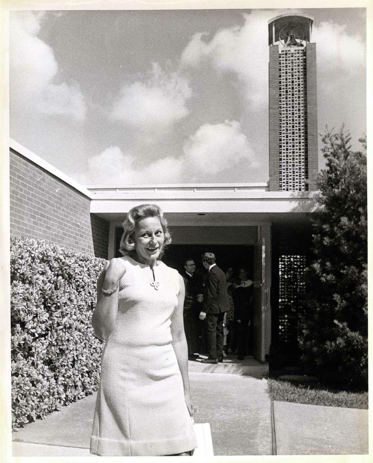 "08/01/1969 - Joan Aldrin, Apollo 11 astronaut Edwin ""Buzz"" Aldrin's wife, leaving Webster Presbyterian Church in Webster, TX One of the men in the background is Rev. Dean Woodruff. Ray Covey / Houston Post"
