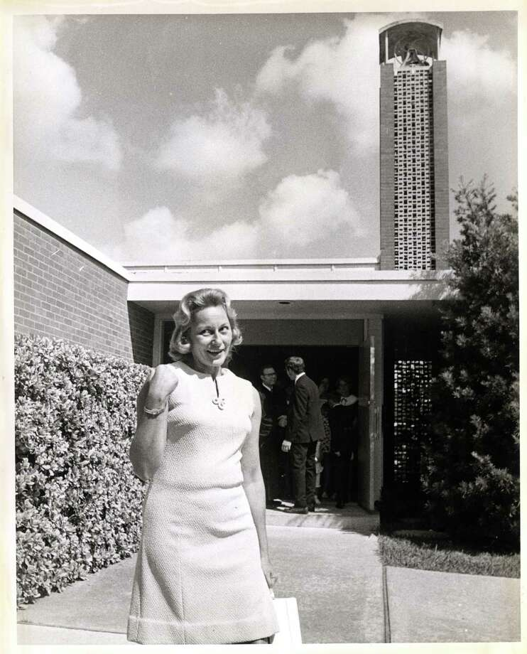 "08/01/1969 - Joan Aldrin, Apollo 11 astronaut Edwin ""Buzz"" Aldrin's wife, leaving Webster Presbyterian Church in Webster, TX  One of the men in the background is  Rev. Dean Woodruff.   Ray Covey / Houston Post Photo: Ray Covey, HP Staff / Houston Post files"