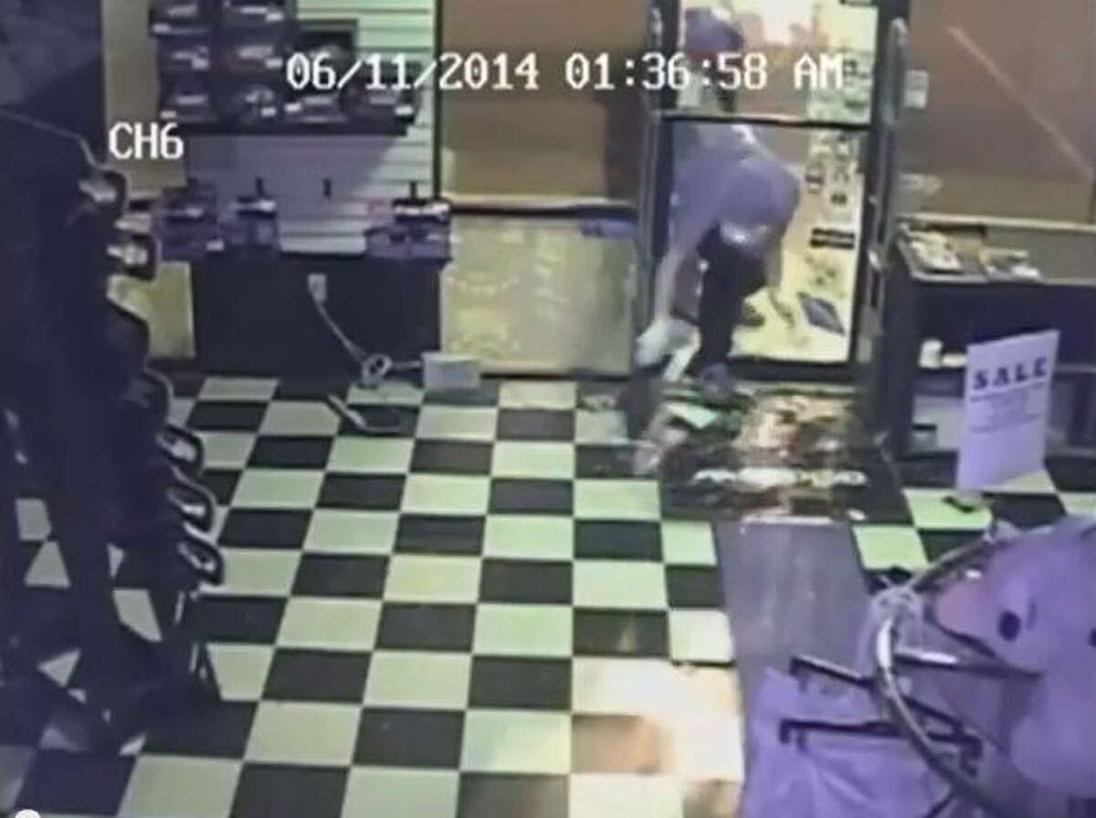 Houston Police are seeking information regarding two suspects who broke into the Kingpinz skateboard shop at 8584 Westheimer Road on June 11 and made off with rare skateboards, t-shirts, caps and more. Surveillance video shows that thieves smashing through the front door, then pilfering the shirt and caps racks, before grabbing the skateboard decks on their way out. A person of interest possibly named Brendan is being sought for more information.