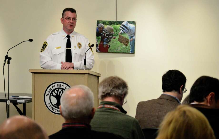"Police Chief Leon Krolikowski speaks at a joint meeting of the Town Council and boards of Selectmen and Finance on Jan. 14, 2014, at the Nature Center in New Canaan, Conn. New Canaan Police Union Local 1575 has accused Krolikowski of ""direct dealing"" with the department's union membership in June 2014. Photo: File Photo / New Canaan News"