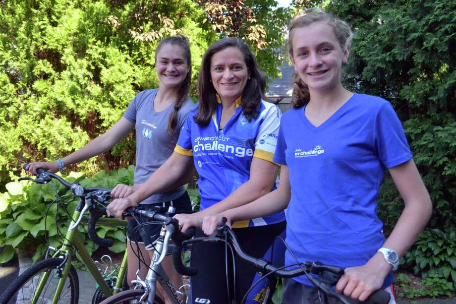 Sammee Mazzone, from left, Kim Kiner, and Kasey Mazzone are all taking part in the Connecticut Challenge, a two-day bike ride event to benefit cancer survivors. Photo: Megan Spicer / Darien News
