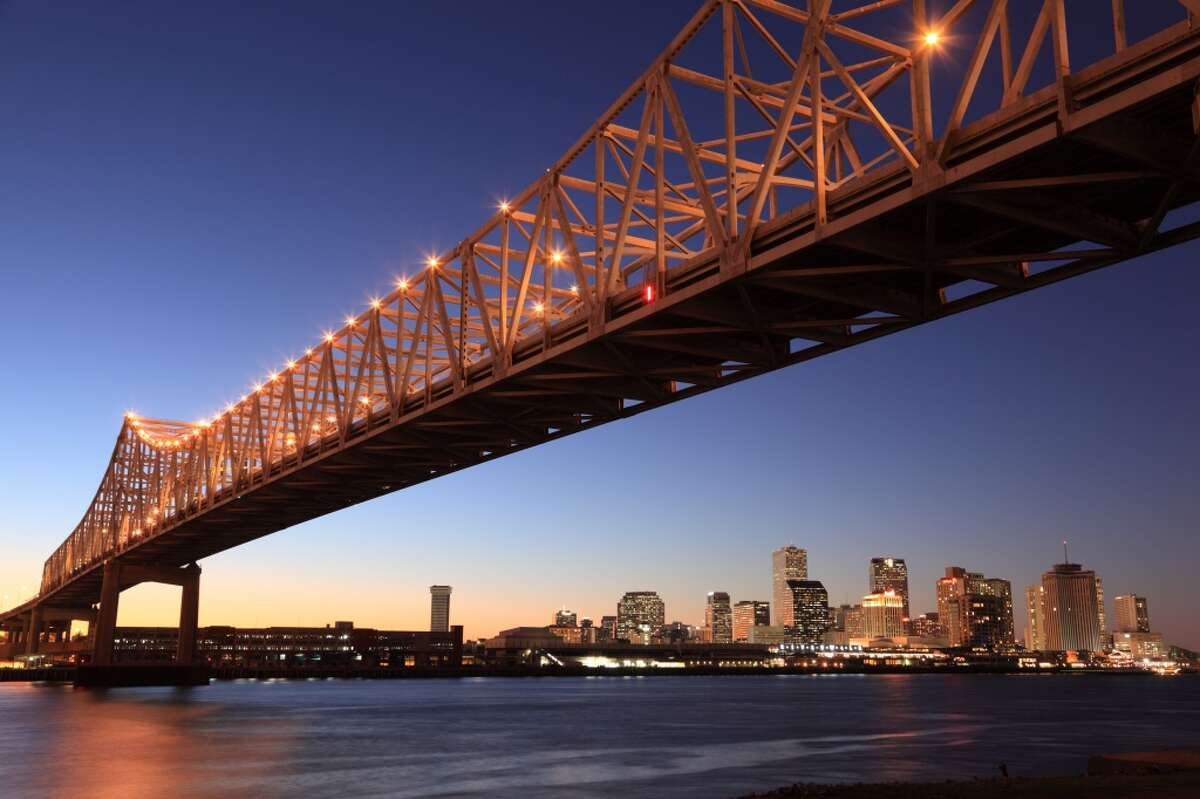 Louisiana state average: 72 mph. Seen here are the bright lights of New Orleans, Louisiana.