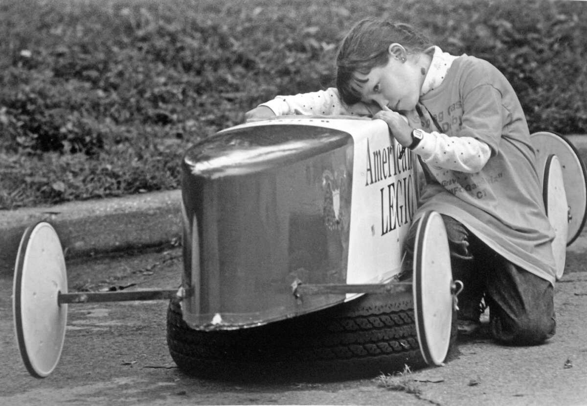 Jennifer Koopman, 9, of Stamford competes in the 6th annual Southern Connecticut Nutmeg Classic Soap Box Derby.