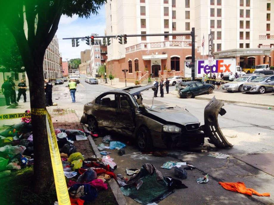 Car crash on Sheridan Avenue Wednesday in Albany. (Cindy Schultz/Times Union)