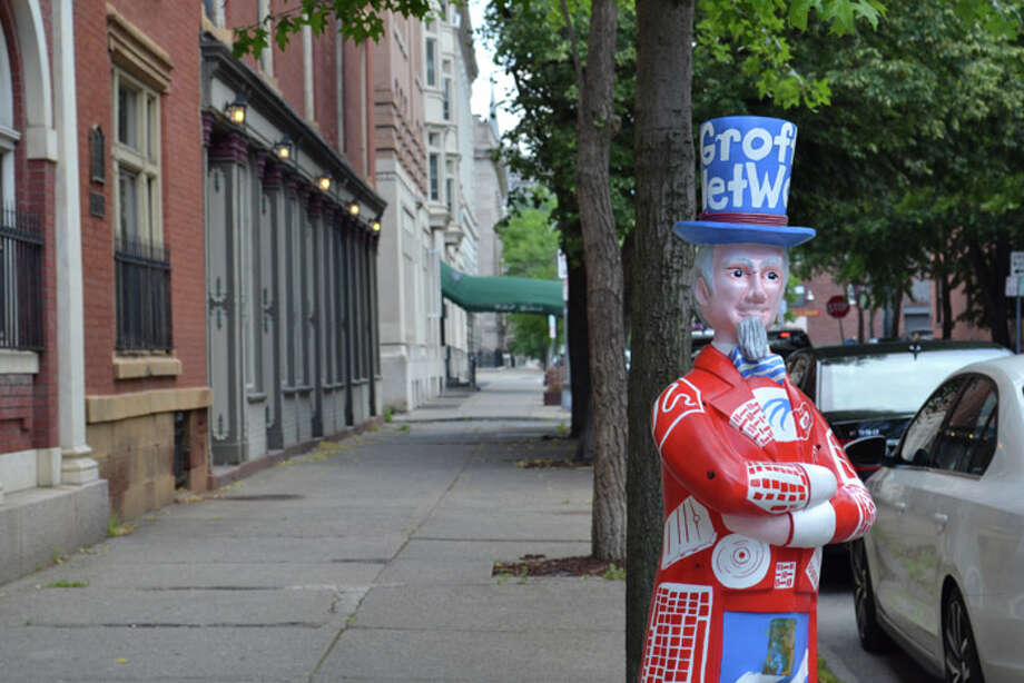 A piece of the Uncle Sam project where 25 artists and 5 school groups designed the 30 fiberglass statues throughout the Downtown Troy streetscape. Photo: Tony Pallone, 518Life