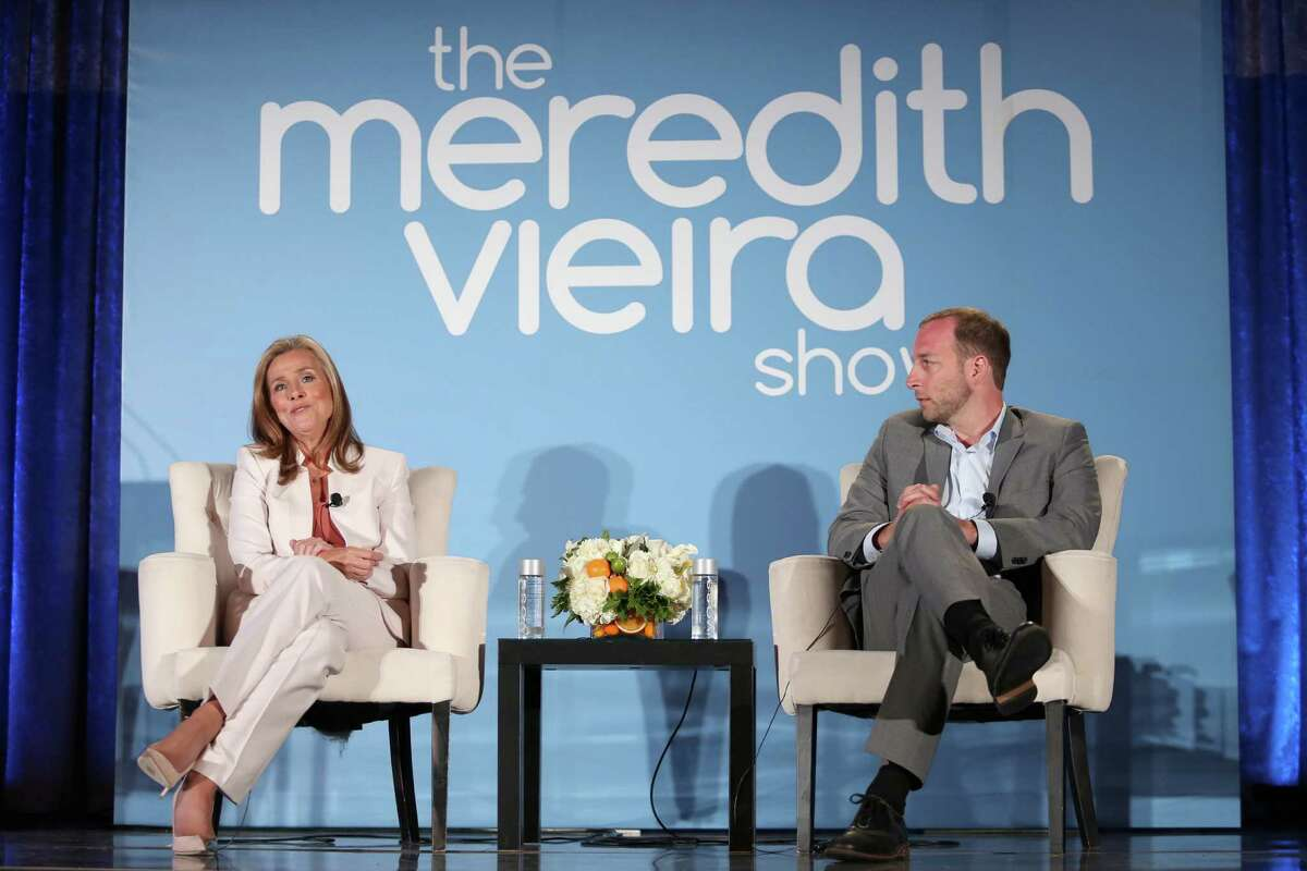 BEVERLY HILLS, CA - JULY 14: Host/Executive producer Meredith Vieira and executive producer Rich Sirop speak onstage at the 'The Meredith Vieira Show' panel during the NBCUniversal portion of the 2014 Summer Television Critics Association at The Beverly Hilton Hotel on July 14, 2014 in Beverly Hills, California. (Photo by Frederick M. Brown/Getty Images)
