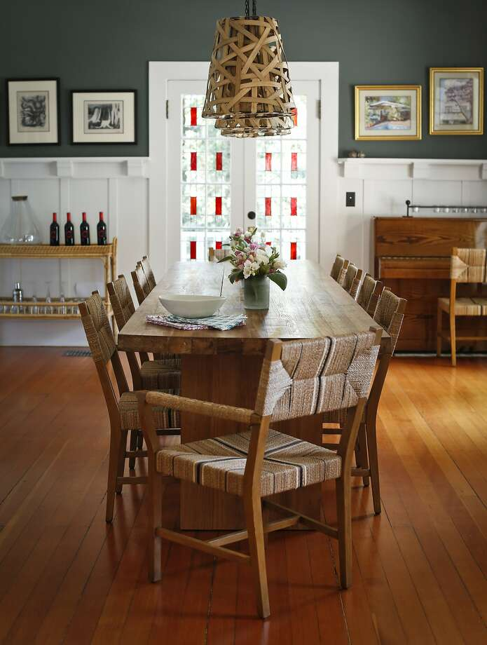"""One of my favorite things is having that long dining table where we can all sit together,"" Lily Kanter says of the 14-foot-long custom teak piece the Wooden Duck (San Rafael and Berkeley). Photo: Russell Yip, The Chronicle"