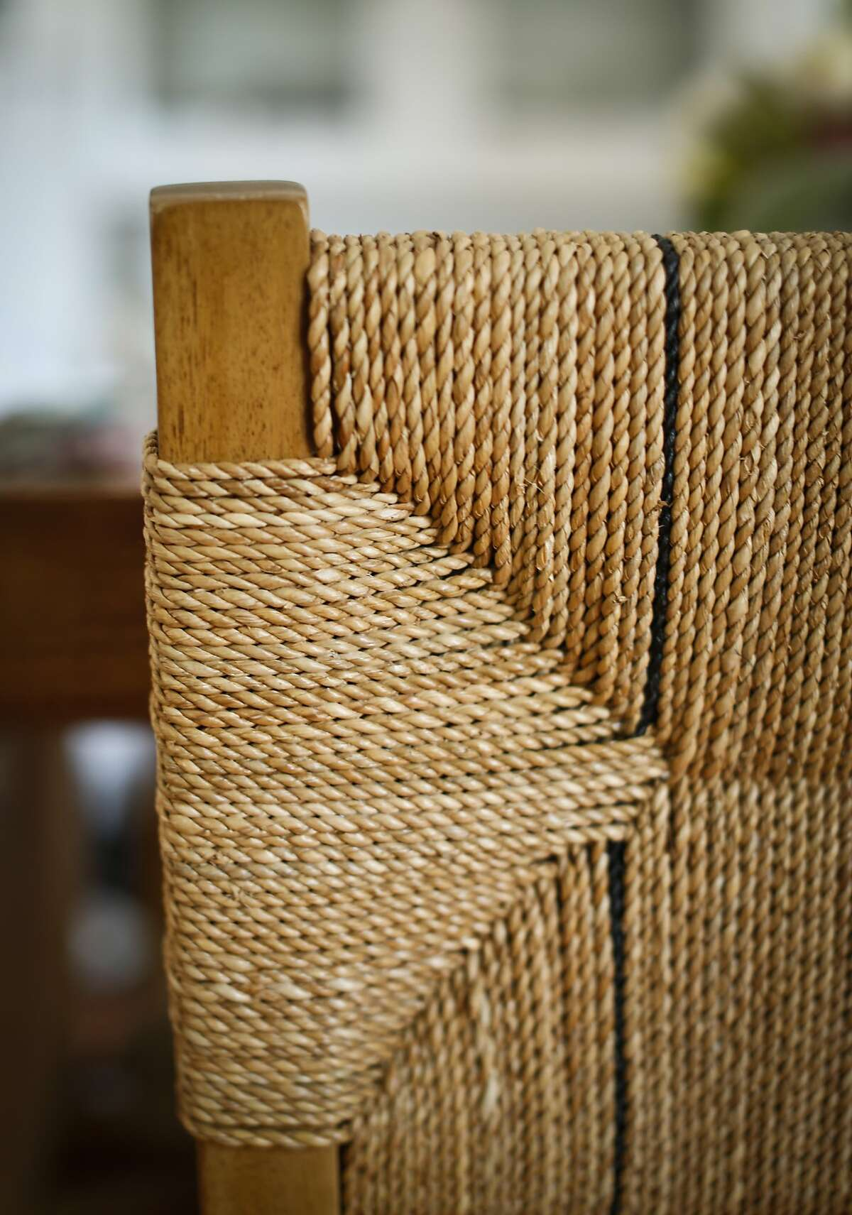 A detail of one of Lily Kanter's dining room chairs is seen on Tuesday, June 24, 2014 in her Mill Valley, Calif., home.
